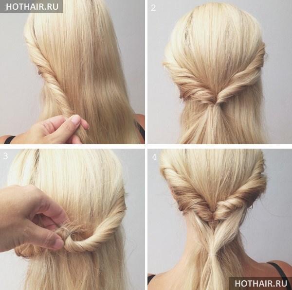 домашняя прическа на длинных волосах