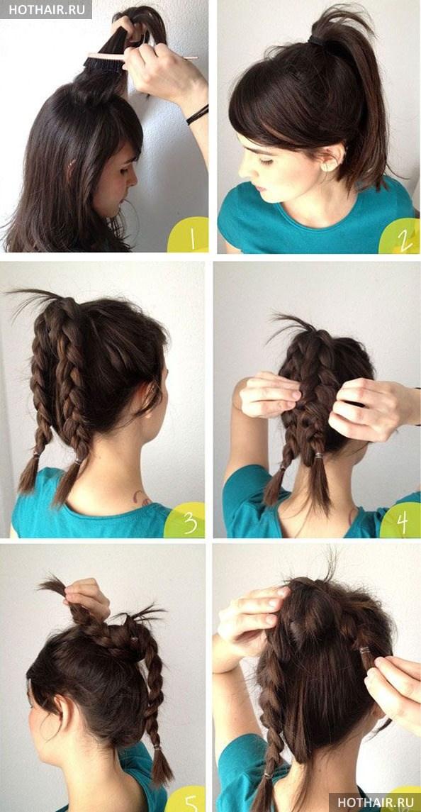 Пучки на средние волосы